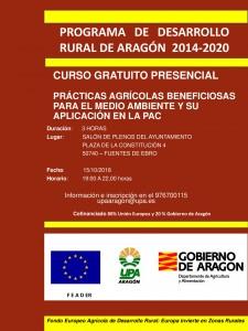 Cartel Fuentes de Ebro 15 oct - prácticas beneficios m. ambiente y PAC-001